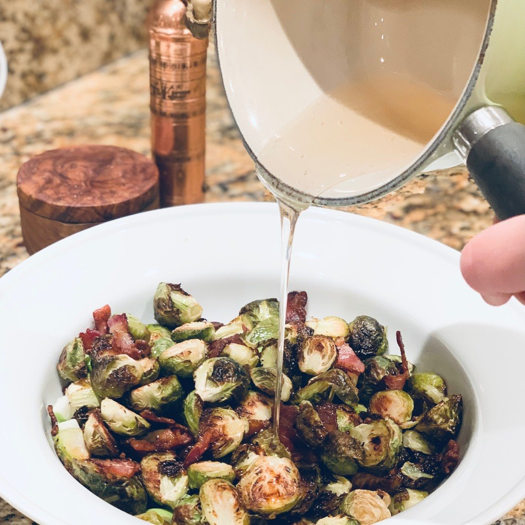 Roasted Brussels with Bacon and Apple